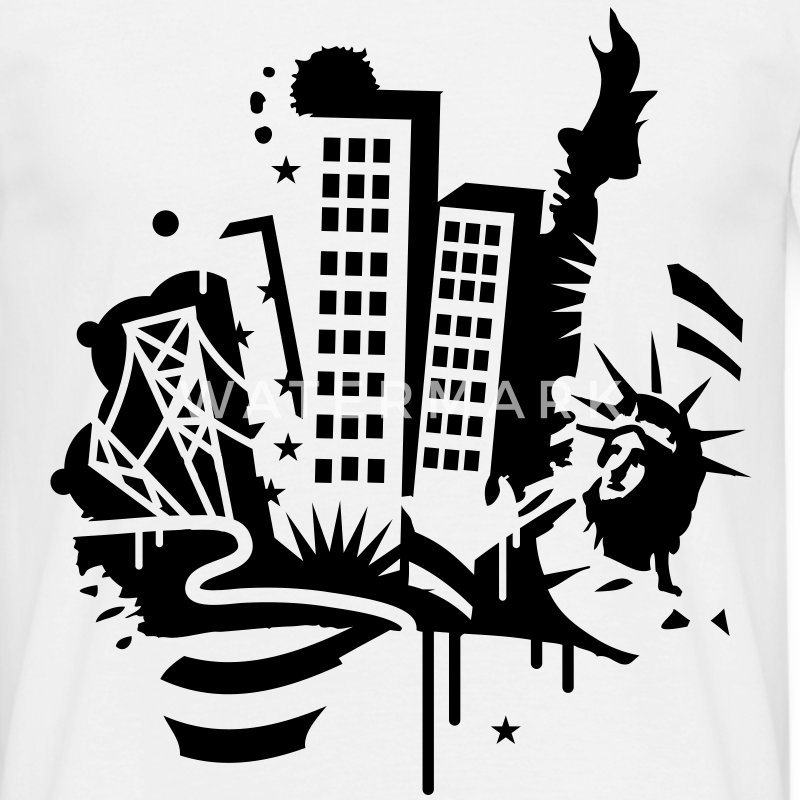 A New-York City Design   dans le style de graffiti  T-shirts - T-shirt Homme