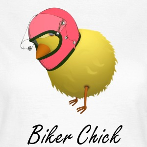 Biker Chick Funny Cartoon Chicken T-shirt - Women's T-Shirt