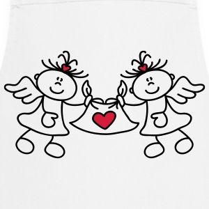 Two little angels and a heart Fartuchy - Fartuch kuchenny