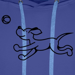 The dog plays with the ball Hoodies & Sweatshirts - Men's Premium Hoodie