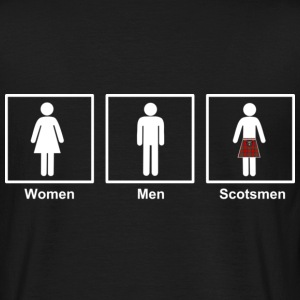 Women Men Scotsmen Funny Cartoon in White - Men's T-Shirt