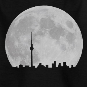 Berlin Skyline vor Mond Fernsehturm Alexanderplatz Vollmond Nacht Kinder T-Shirts - Teenager T-Shirt