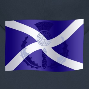 Scottish Saltire Flag with Celtic Thistle - Men's Premium Hooded Jacket