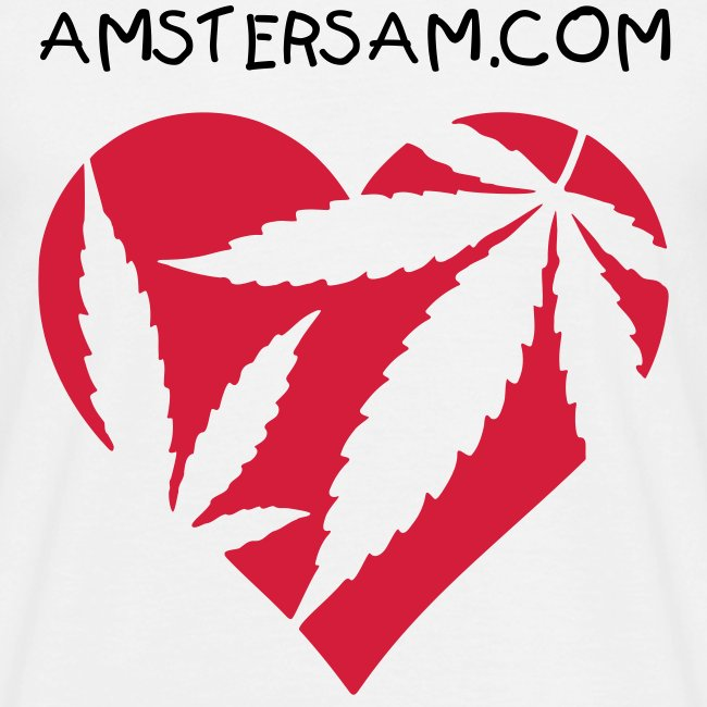 Men's Classic T-Shirt 'Ganja Love' White/Red