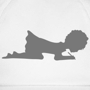 A silhouette of a girl writing a letter Caps & Hats - Baseball Cap