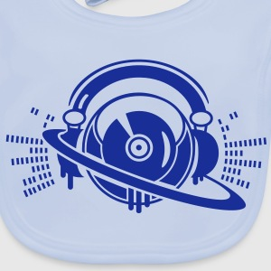 A DJ turntable console with headphones and equalizer Accessories - Baby Organic Bib