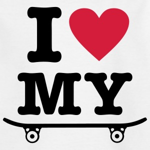 White Skateboard - I love my skateboard - I heart my skateboard Kids' Shirts - Teenage T-shirt
