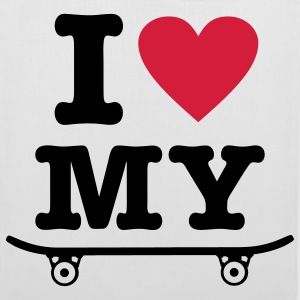 White Skateboard - I love my skateboard - I heart my skateboard Bags  - Tote Bag