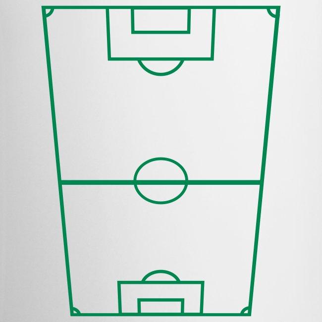 Mugg med fotbollsplan.