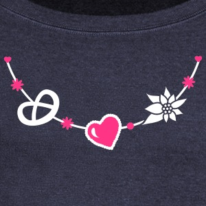 Dirndl jewelry with pretzel, gingerbread heart and Edelweiss Hoodies & Sweatshirts - Women's Boat Neck Long Sleeve Top