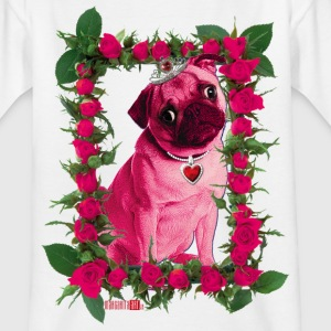 Rosa Mops in Rosen-Rahmen – Pink Pug in Roses Frame Kinder T-Shirt weiss - Teenager T-Shirt