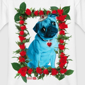 Blauer Mops in Rosen-Rahmen – Blue Pug in Roses Frame Kinder T-Shirt weiss - Teenager T-Shirt
