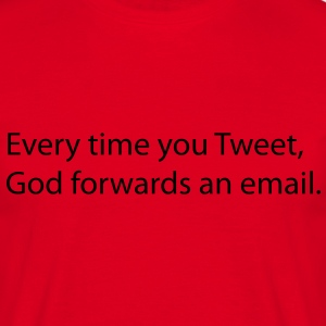 Every time you tweet, Gods forwards an email. Koszulki - Koszulka męska