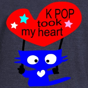 KPOP took my heart txt blue cat vector art Women's Boat Neck Long Sleeve Top - Women's Boat Neck Long Sleeve Top
