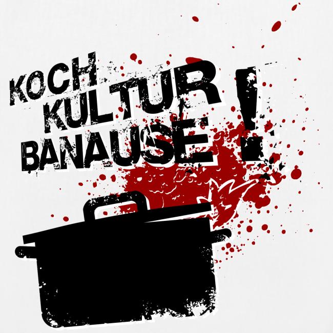 "bio-stoffbeutel ""kochkulturbanause"" mit motiv im grunge style"