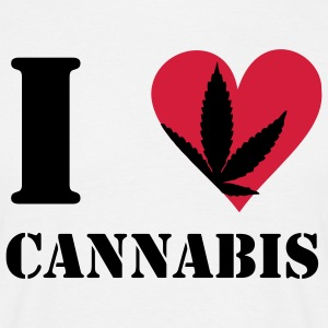 I love cannabis / cannabis hemp leaf I heart to heart T-Shirts - Men's T-Shirt
