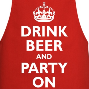 drink_beer_and_party_on  Aprons - Cooking Apron