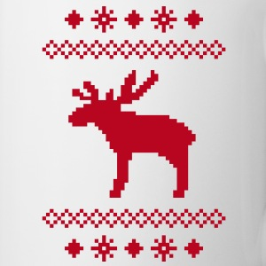 moose caribou reindeer deer christmas norwegian knitting pattern rudolph rudolf winter snowflake snow crystal frost snow flower Mugs  - Mug