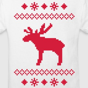 moose caribou reindeer deer christmas norwegian knitting pattern rudolph rudolf winter snowflake snow crystal frost snow flower Kids' Shirts - Kids' Organic T-shirt