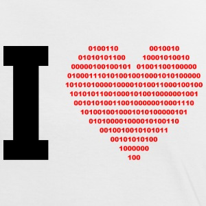 I LOVE - Binary hjerte - digital - svart T-skjorter - Kontrast-T-skjorte for kvinner