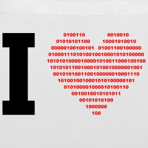 I LOVE - Binary hjerte - Digital - sort Tasker - Mulepose
