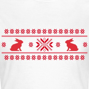 rabbits bunny hare cony leveret christmas norwegian pattern easter snowflake T-Shirts - Women's T-Shirt