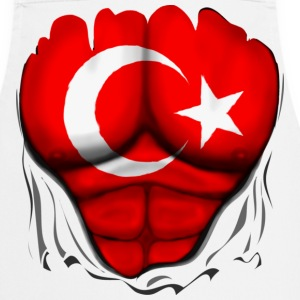 Turkey Flag Ripped Muscles, six pack, chest t-shir - Cooking Apron