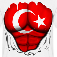 Design ~ Turkey Flag Ripped Muscles, six pack, chest t-shirt