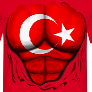 Turkey Flag Ripped Muscles, six pack, chest t-shir - Men's T-Shirt