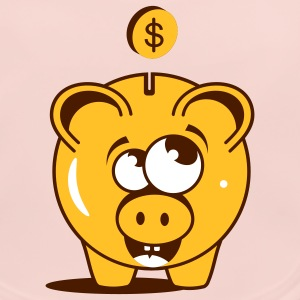 A funny piggy bank with a dollar Accessories - Baby Organic Bib