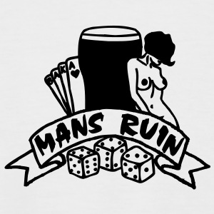 1 colour - mans ruin pin up girl sex drugs rock n roll junggesellenabschied T-Shirts - Men's Baseball T-Shirt
