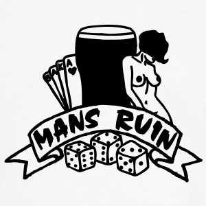 1 colour - mans ruin pin up girl sex drugs rock n roll junggesellenabschied Camisetas - Camiseta contraste hombre