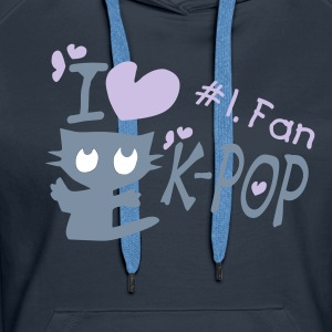 I love k-pop txt black kitty cat vector women's hoodie - Women's Premium Hoodie