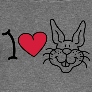 I love Rabbits Hoodies & Sweatshirts - Women's Boat Neck Long Sleeve Top
