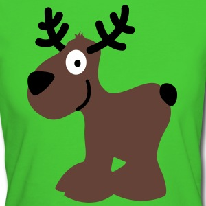 cute moose caribou reindeer deer christmas norway rudolph rudolf winter scandinavia canada smile eyes T-Shirts - Women's Organic T-shirt