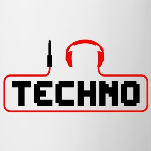 I love techno plug headphones sound bass beat catch cable music i love techno minimal house club dance dj discjockey electronic electro Mugs  - Mug