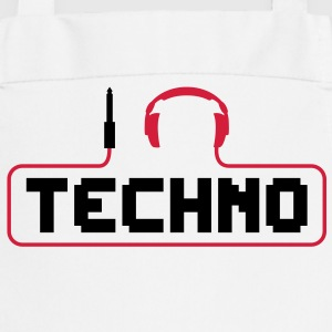 I love techno plug headphones sound bass beat catch cable music i love techno minimal house club dance dj discjockey electronic electro  Aprons - Cooking Apron