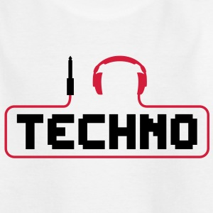 Ik hou van techno plug hoofdtelefoon geluid bass beat te vangen kabel music i love techno minimal house club dance dj discjockey electronic electro Kinder shirts - Teenager T-shirt