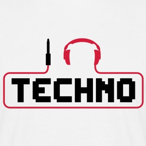 I love Techno Klinke Kopfhörer DJ music sound minimal elektro electro elektronische musik beat bass detroit house club stecker Kabel dance tanzen discjockey T-Shirts - Männer T-Shirt