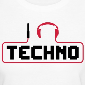 I love techno plug headphones sound bass beat catch cable music i love techno minimal house club dance dj discjockey electronic electro T-Shirts - Women's Organic T-shirt