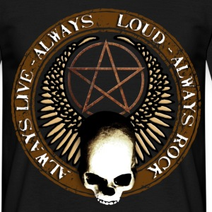 rock_and_roll_and_skull_and_pentagram_b Camisetas - Camiseta hombre