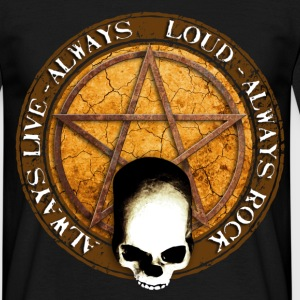 rock_and_roll_and_skull_and_pentagram_e T-Shirts - Men's T-Shirt