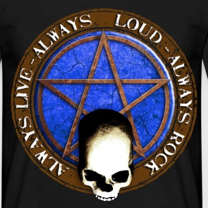 rock_and_roll_and_skull_and_pentagram_f T-Shirts - Men's T-Shirt