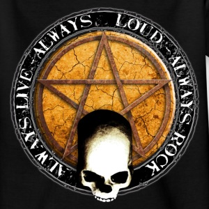 rock_and_roll_and_skull_and_pentagram_p Camisetas - Camiseta adolescente