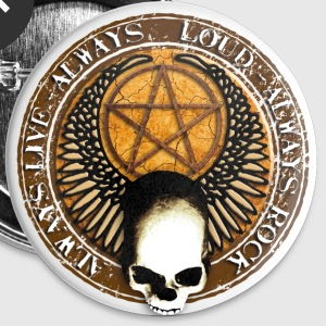 rock_and_roll_and_skull_and_pentagram_h Badges - Badge petit 25 mm