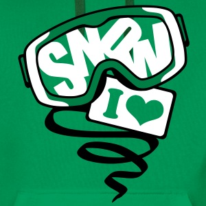Kelly green  I love snow Hoodies & Sweatshirts - Men's Premium Hoodie