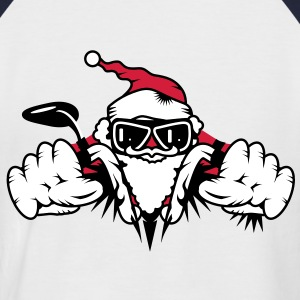 Santa Claus on Motorcycle T-Shirts - Men's Baseball T-Shirt