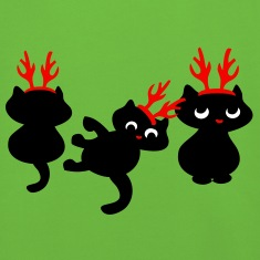Christmas Reindeer kittens patjila arts Kids' Tops