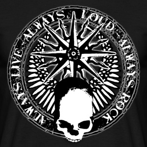 rock_and_roll_and_skull_and_pentagram_bw Camisetas - Camiseta hombre