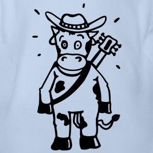 Cow cowboy with a guitar Baby Bodysuits - Organic Short-sleeved Baby Bodysuit